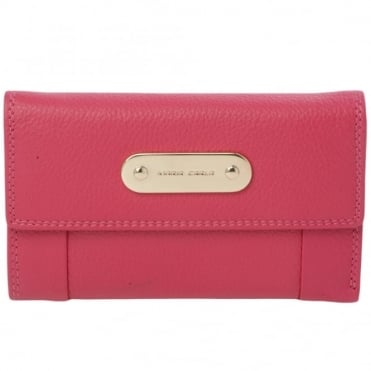 Leather Purse Fuchsia : 4007a