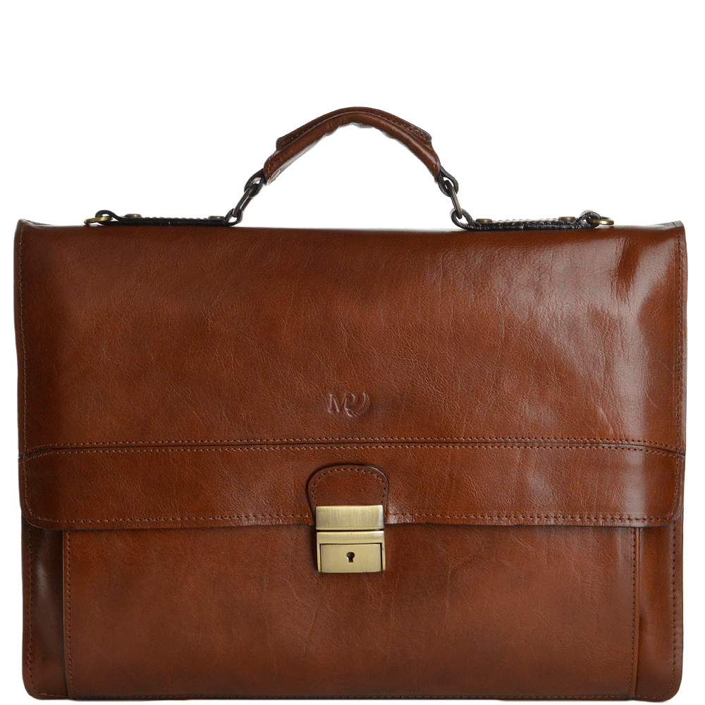 Large Italian Double Gusset Leather Briefcase