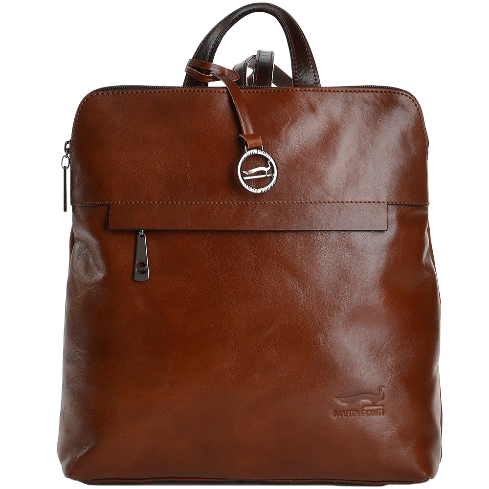 e9d427b0b Marta Ponti Medium Italian Leather Backpack Cognac/ Brown - 8106068