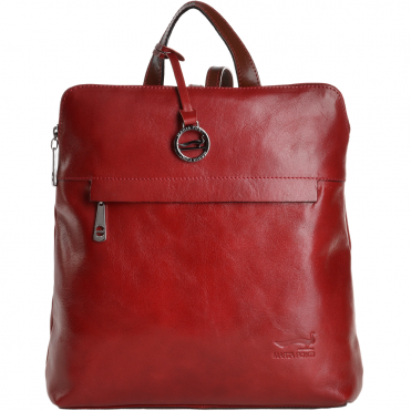 0d9311ff744 Marta Ponti Medium Italian Leather Backpack Red Cognac - 8106068