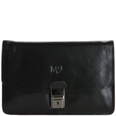 c8e4e18af42 Marta Ponti Medium Italian Leather Clutch Bag Black - 3120440