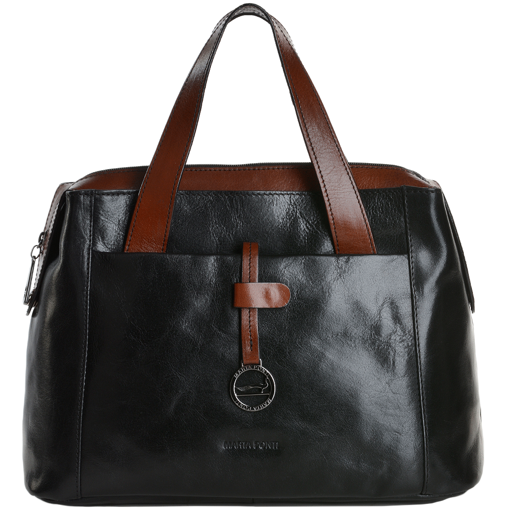 f7cda0e302 Medium Italian Leather Handbag Black  Cognac - 8106119