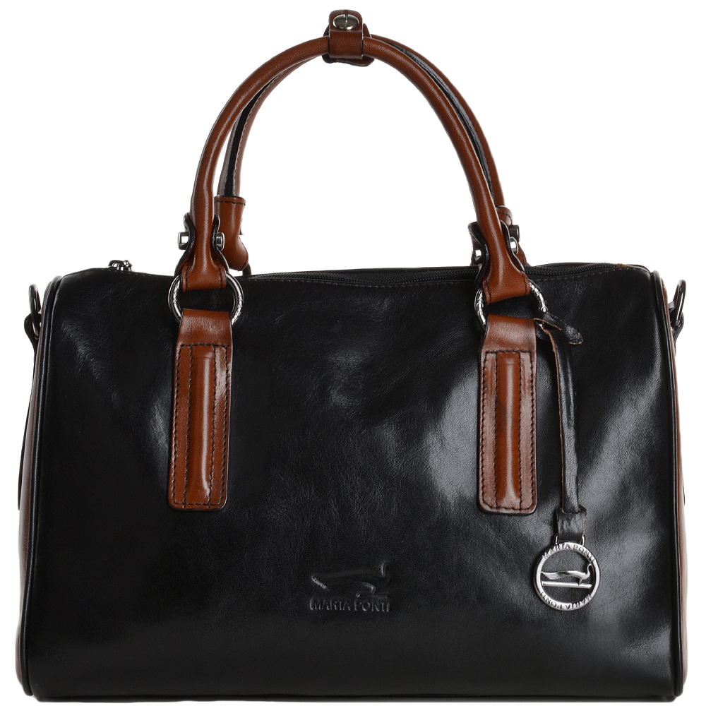 Marta Ponti Medium Italian Leather Handbag Black Cognac