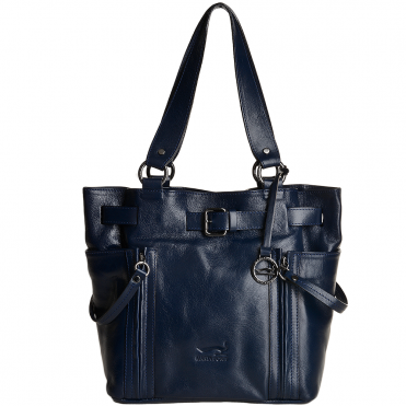 Marta Ponti Medium Italian Leather Handbag Blue - 8105867