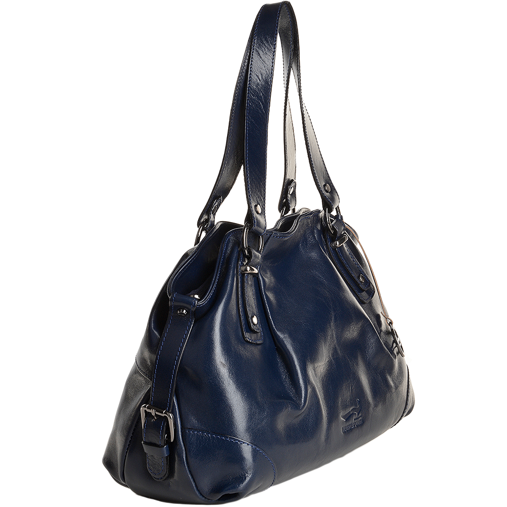 0ad6ec8dd0e Marta Ponti Medium Italian Leather Handbag Blue - 8106002