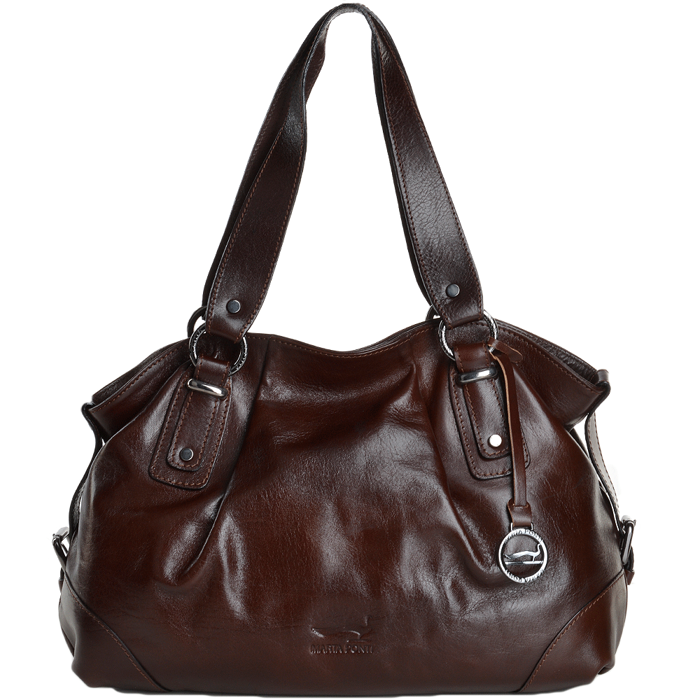 f10cbe1c38a Marta Ponti Medium Italian Leather Handbag Brown - 8106002