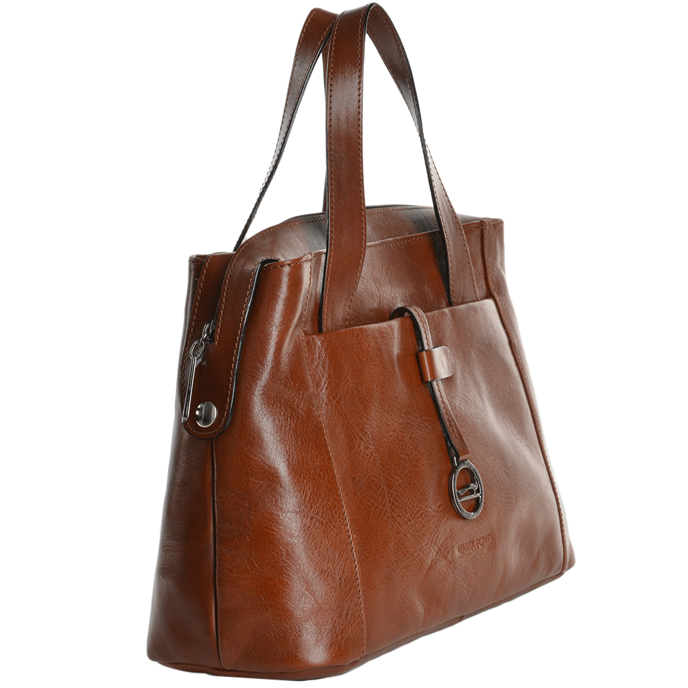 7a8a2badc9f timeless design d2097 cba63 medium italian leather handbag cognac 8106119