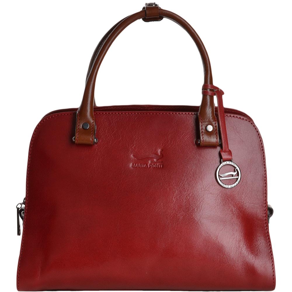 649dae4c40 Medium Italian Leather Handbag Red Cognac - 8105972