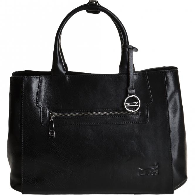 Medium Italian Leather Two Section Shoulder Bag Black