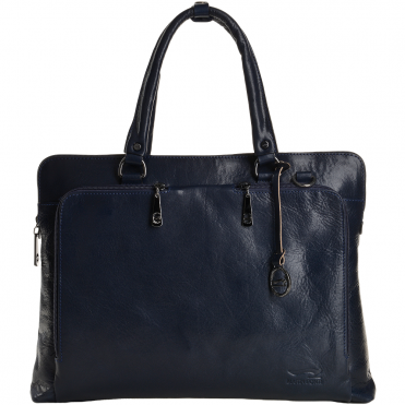 Medium Italian Leather Work Bag Blue - 8105817