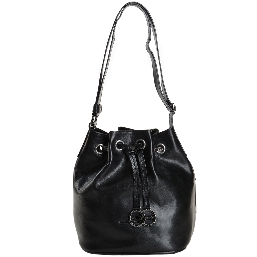 c1e26fa0fb5 Marta Ponti Small Italian Leather Bucket Bag Black - 8106112