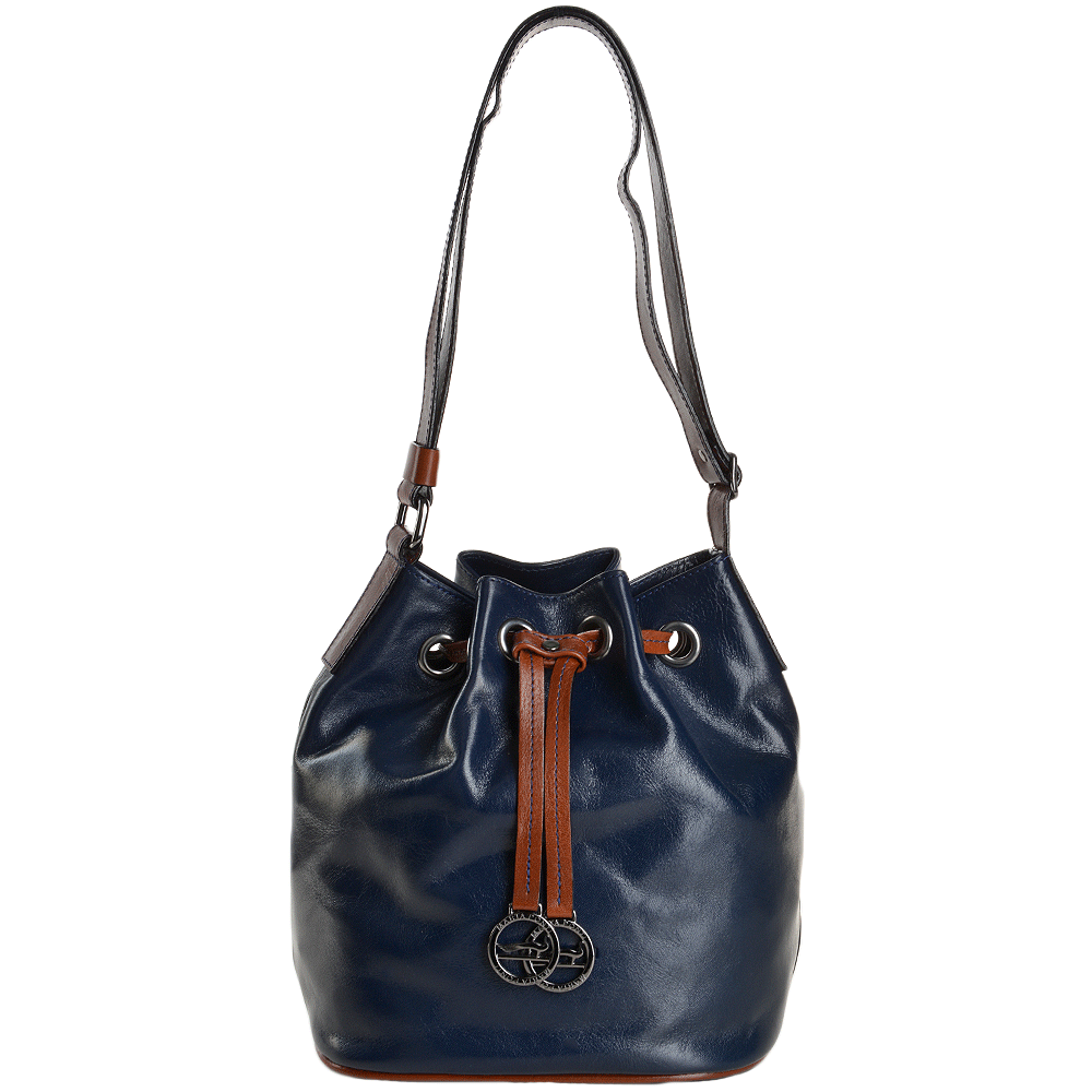 a66db99cbb5 Marta Ponti Small Italian Leather Bucket Bag Blue/ Cognac - 8106112