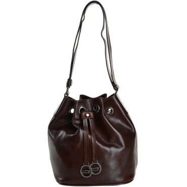Marta Ponti Small Italian Leather Bucket Bag Brown - 8106112