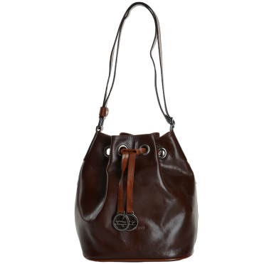 Marta Ponti Small Italian Leather Bucket Bag Brown/Cognac - 8106112