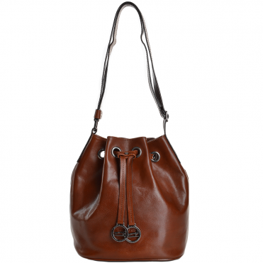 Marta Ponti Small Italian Leather Bucket Bag Cognac - 8106112