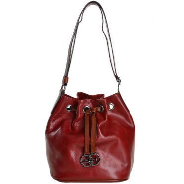 Marta Ponti Small Italian Leather Bucket Bag Red/Cognac - 8106112