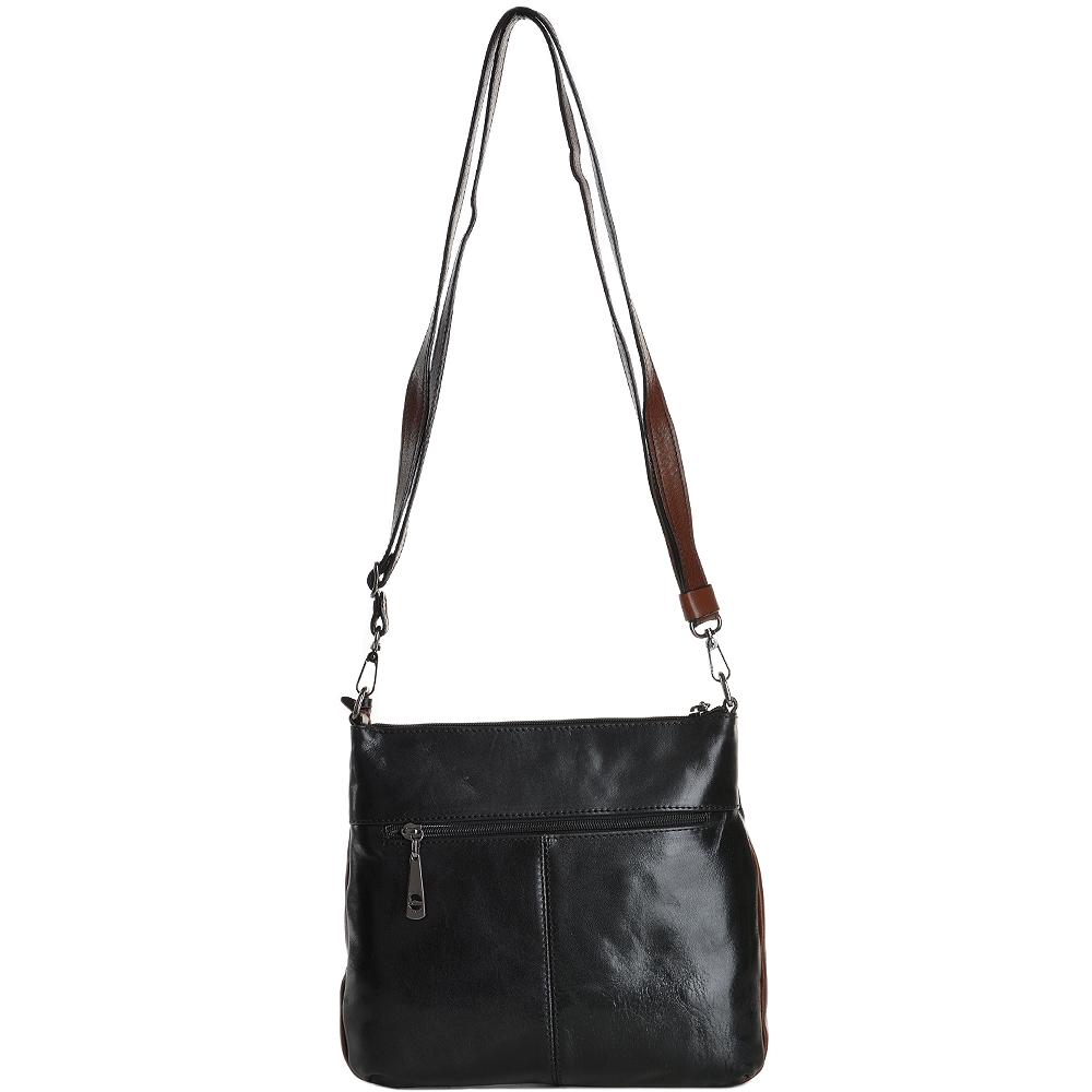 c57524dbd Small Italian Leather Cross Body Bag Black/Cognac - 8106019