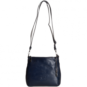 Small Italian Leather Cross Body Bag Blue - 8106019