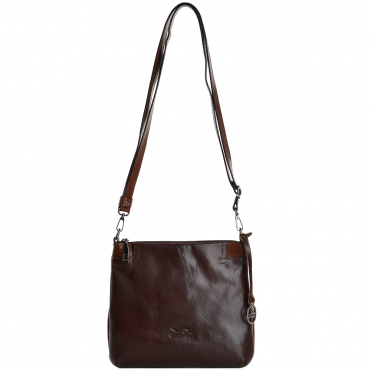 Small Italian Leather Cross Body Bag Brown/Cognac - 8106019