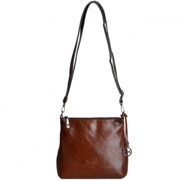Small Italian Leather Cross Body Bag Cognac/brown - 8106019