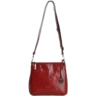 Small Italian Leather Cross Body Bag Red - 8106019