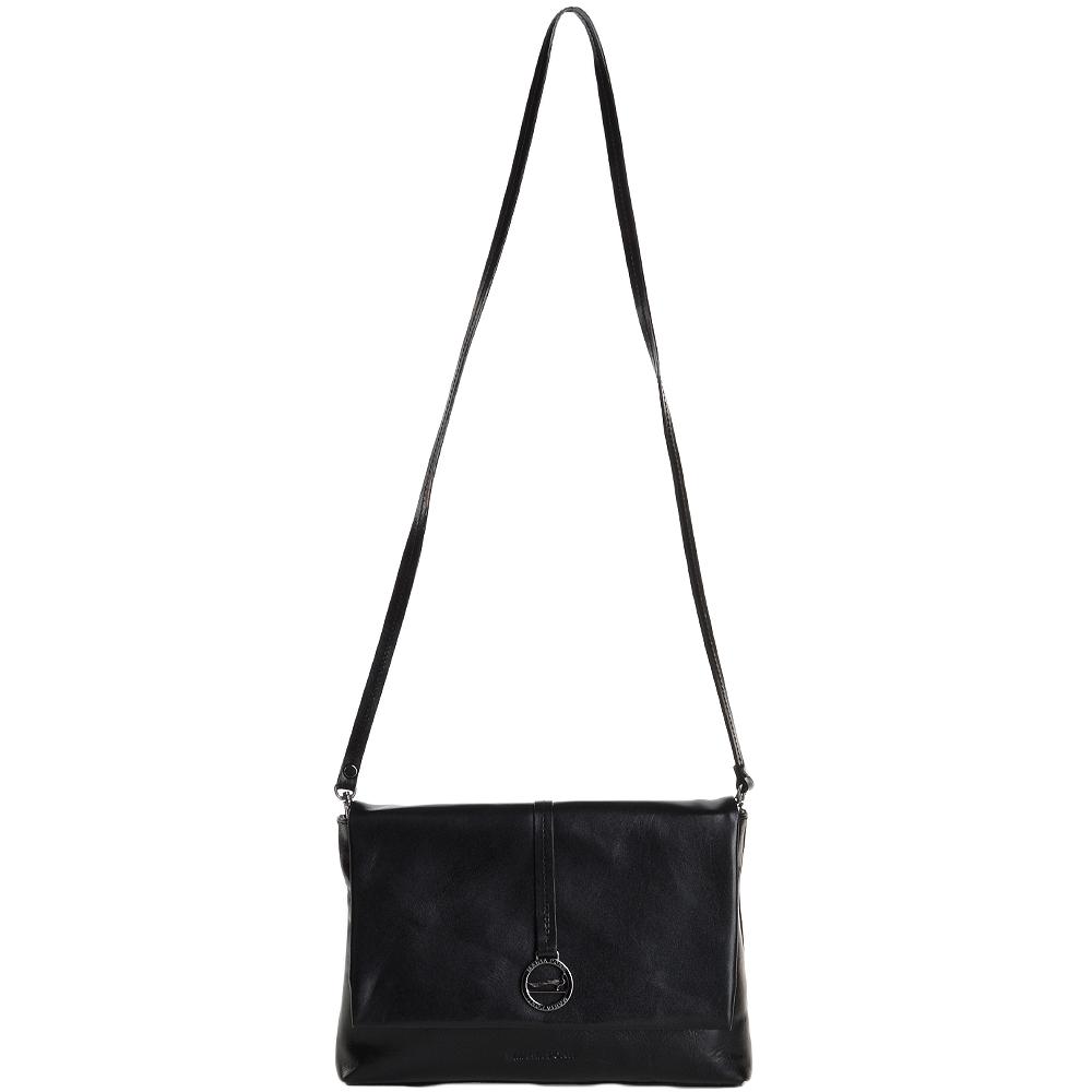 fdafca98e04 Marta Ponti Small Italian Leather Shoulder Bag Black - 8106116