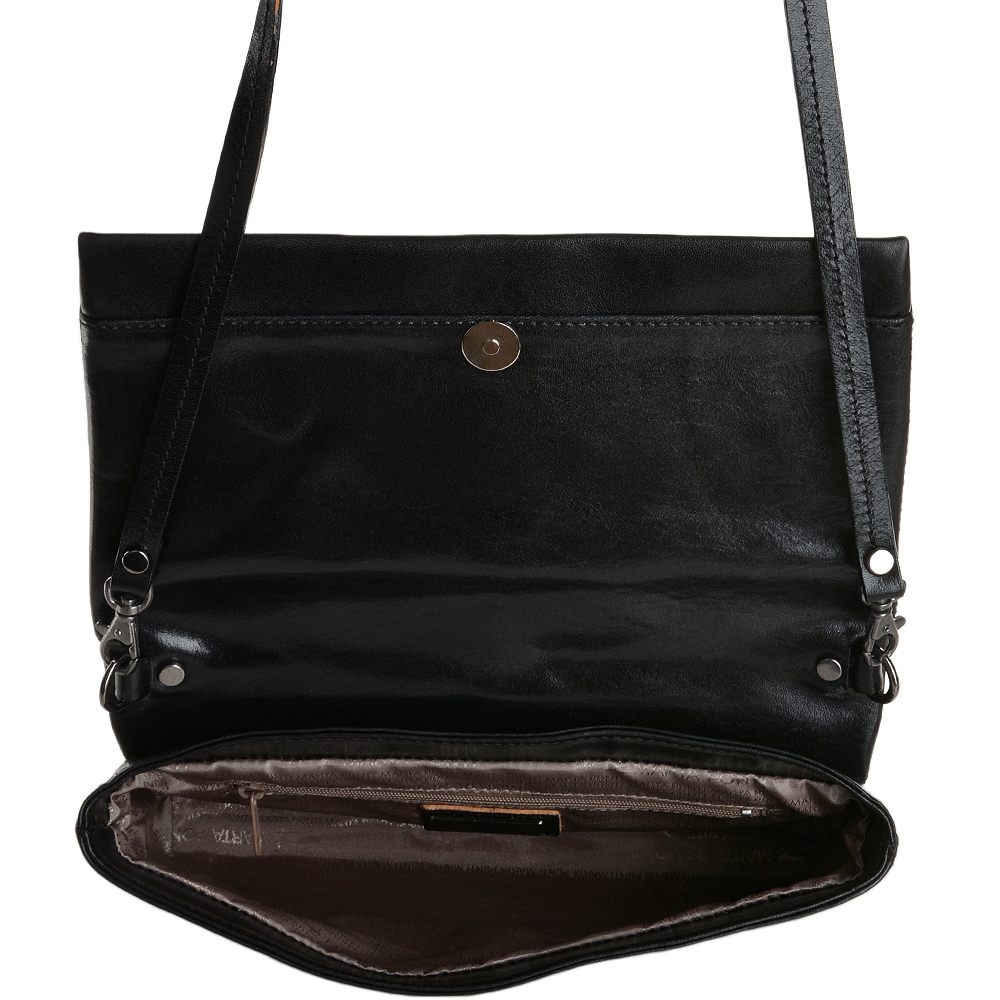 1222f4ac46d Marta Ponti Small Italian Leather Shoulder Bag Black - 8106116