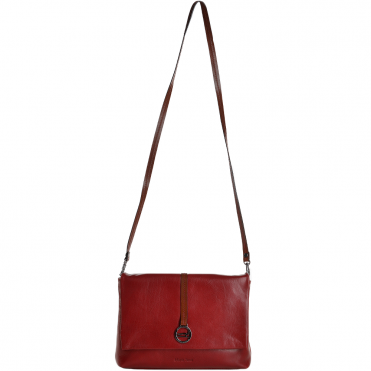 Marta Ponti Small Italian Leather Shoulder Bag Red/Cognac - 8106116