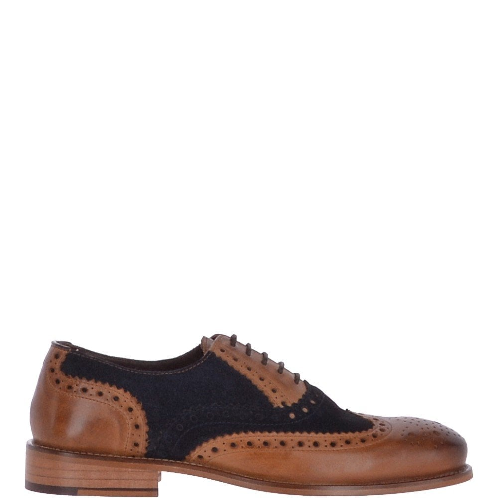 Brogues Tan/ Navy Suede : Gatsby Shoes