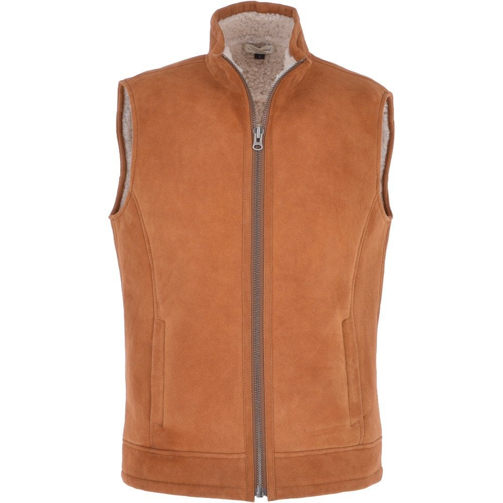Men S Leather Sheepskin Gilet Whisky Cream Saxon Mens From Leather Company Uk