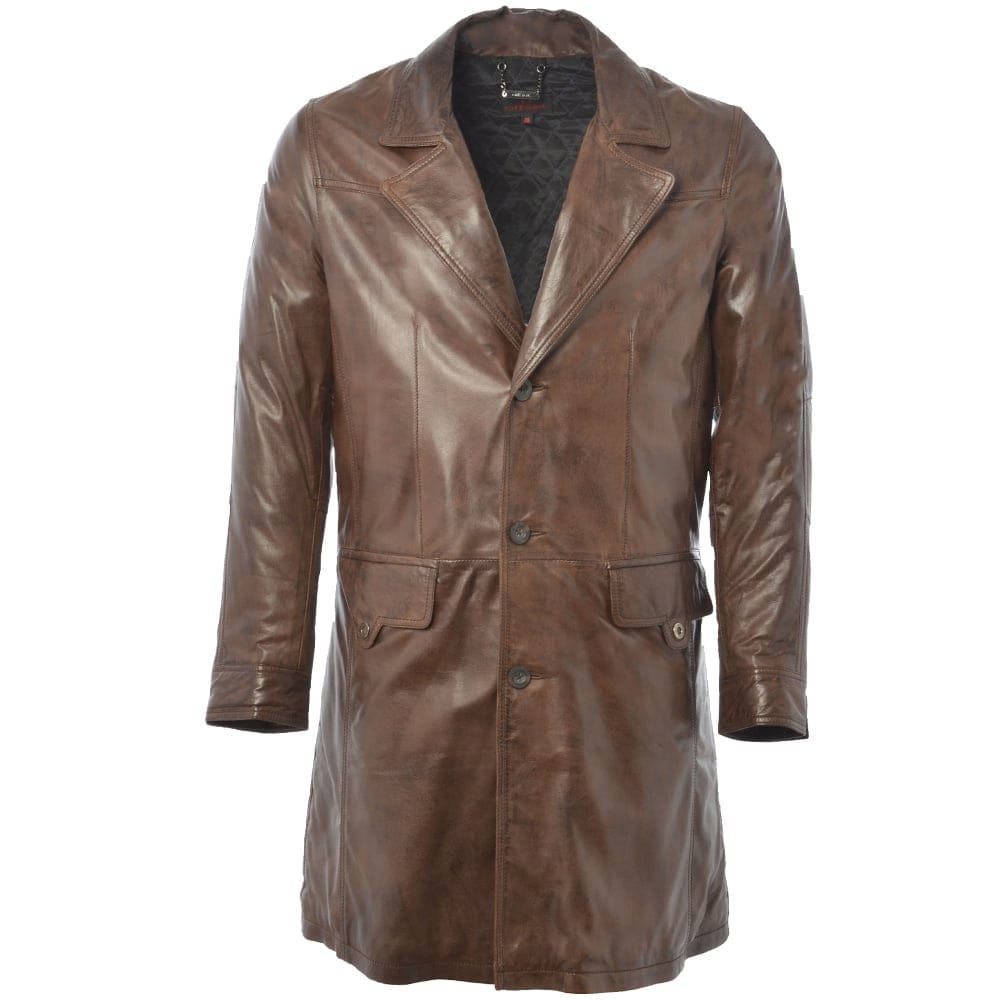 Mens 3 4 Leather Coat Brown Nap Wilsons Mens Leather