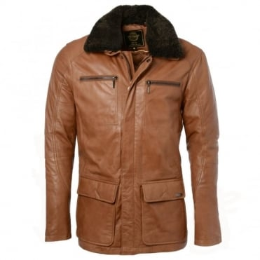 Leather Coat Tan/ani : Abram