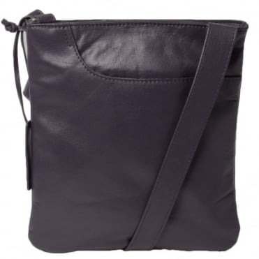 Curve Small Zip Top Leather Cross Body Bag Aubergine