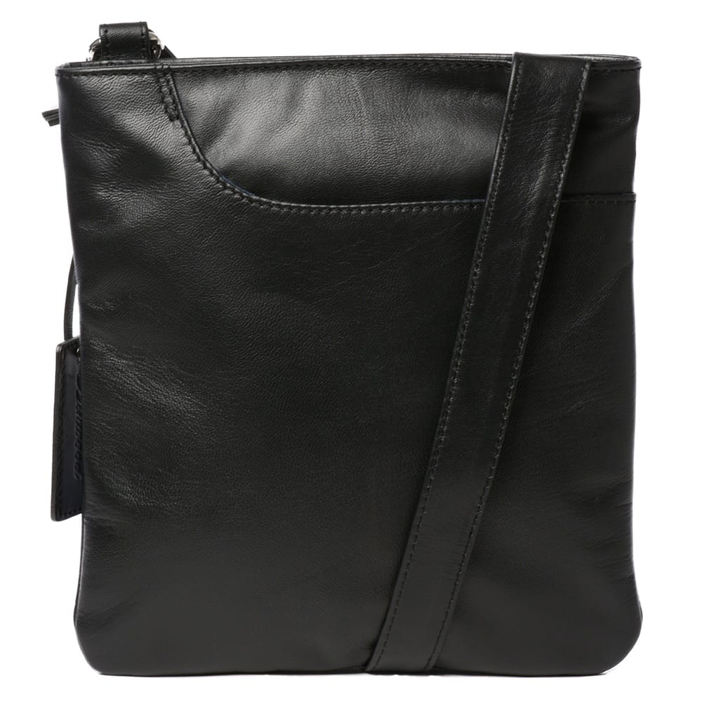 Womens Curve Small Zip Top Leather Cross Body Bag Black Leather Handbags