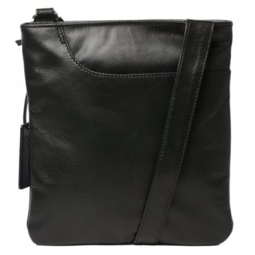 Curve Small Zip Top Leather Cross Body Bag Black