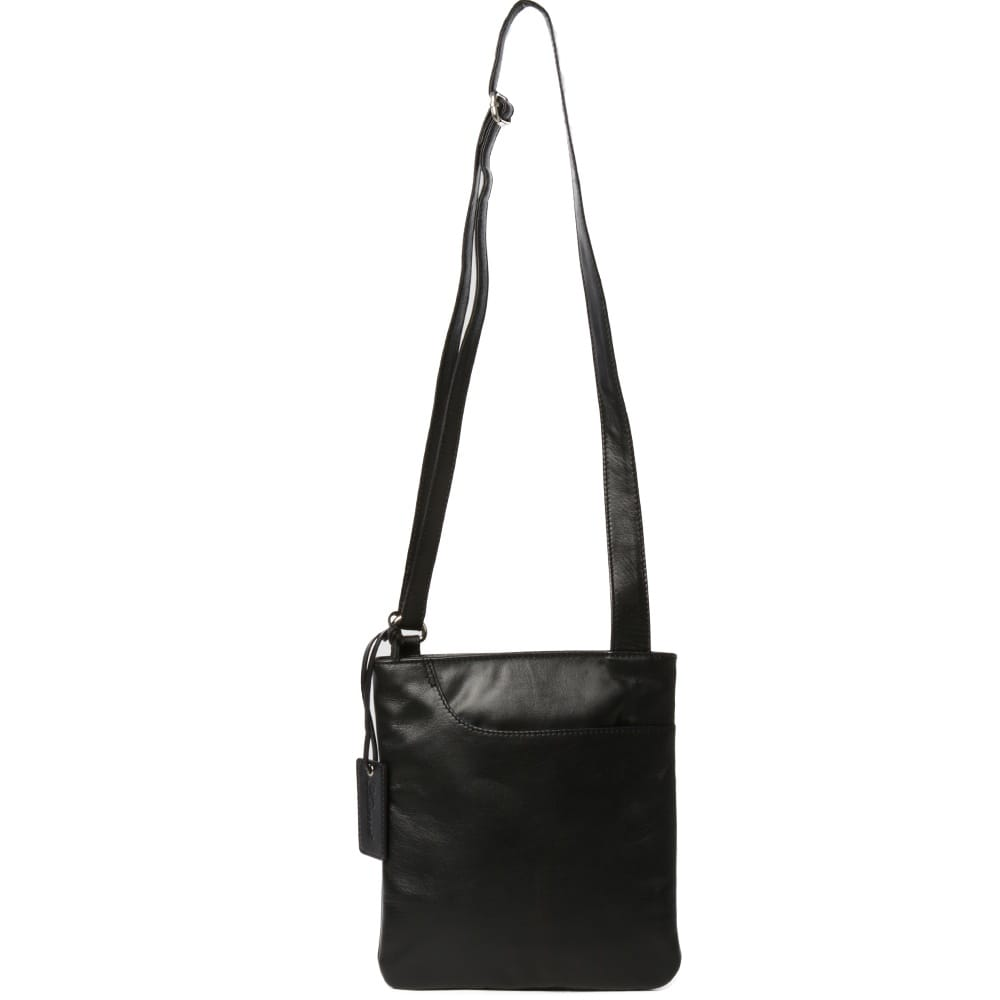 womens curve small zip top leather cross body bag black