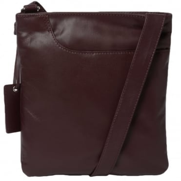 Curve Small Zip Top Leather Cross Body Bag Merlot