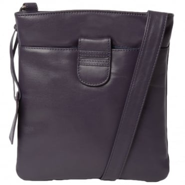 Tab Small Zip Top Leather Cross Body Bag Aubergine