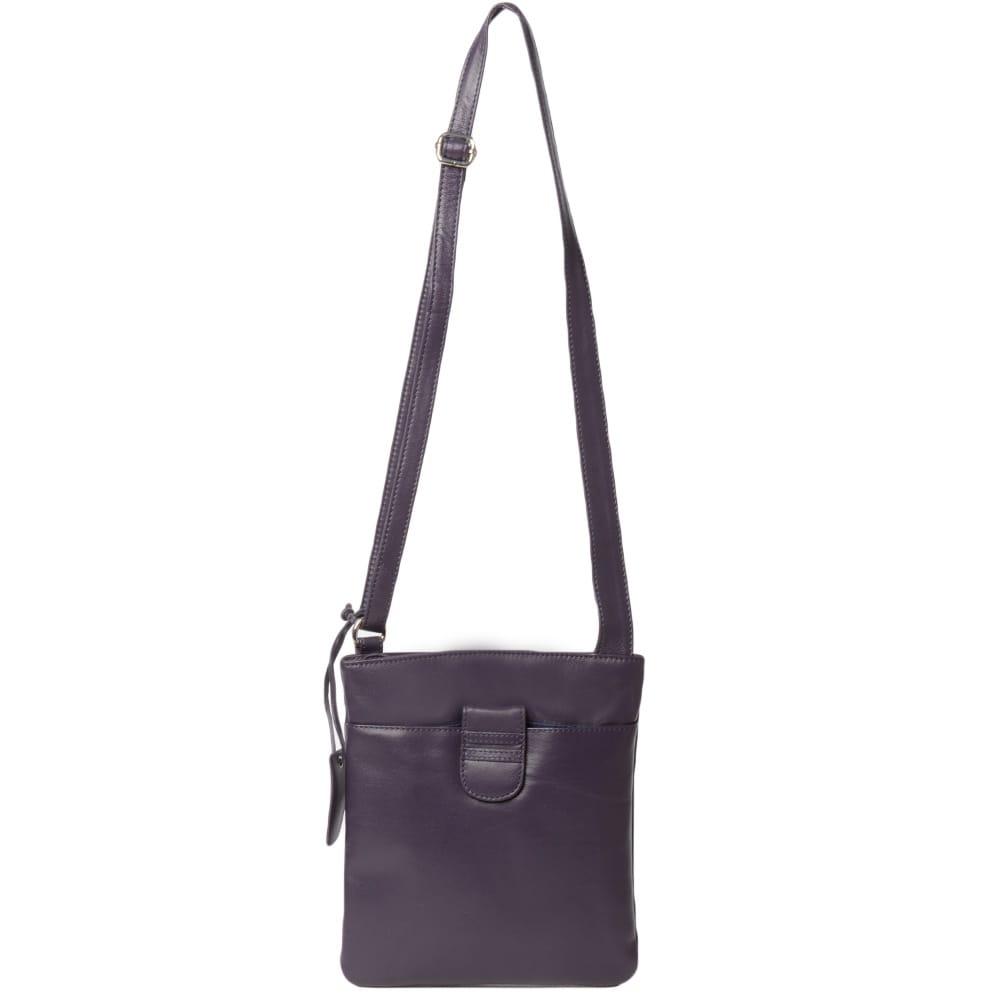 Womens Tab Small Zip Top Leather Cross Body Bag Aubergine