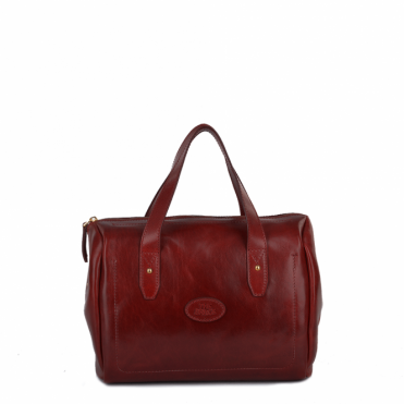 Italian Leather Barrel Handbag Red : 004425301 06