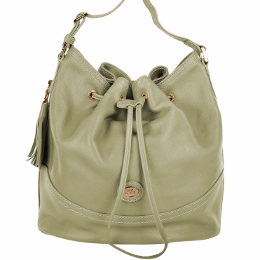 Womens Italian Leather Medium Bucket Bag Cream : 004437449 42