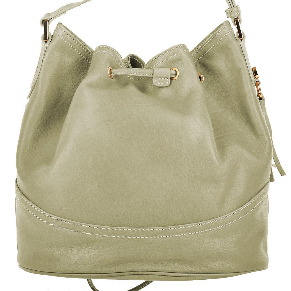 Womens Italian Leather Medium Bucket Bag Cream 004437449 42