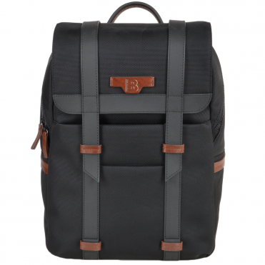 The Bridge B Go Italian Backpack with Brown Leather Trim Detail Black/Gun Metal- 061326 3L 5P NH