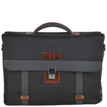 The Bridge B Go Italian Travel Briefcase Black/ gunmetal- 061346 3L 5P NH