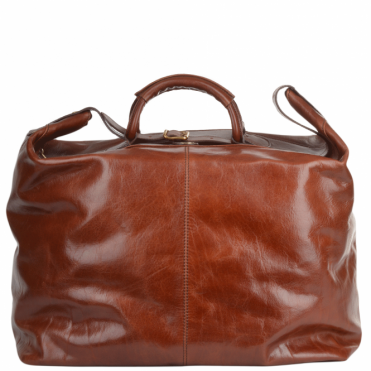 Extra Large Italian Leather Holdall Tobacco : 75220 01 07 NH