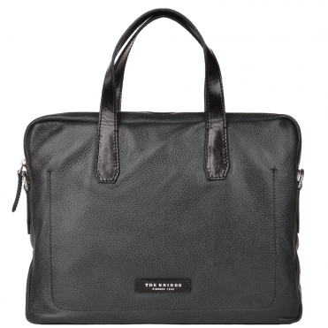 The Bridge Full Grain Italian Leather Laptop Bag Black/ palladium - 064071 2F 20 NH