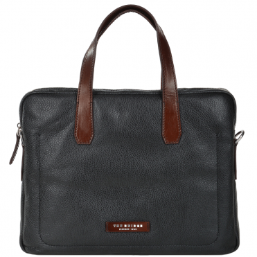 The Bridge Full Grain Italian Leather Laptop Bag Blk/brn/ruthenium - 064071 2F 4S NH
