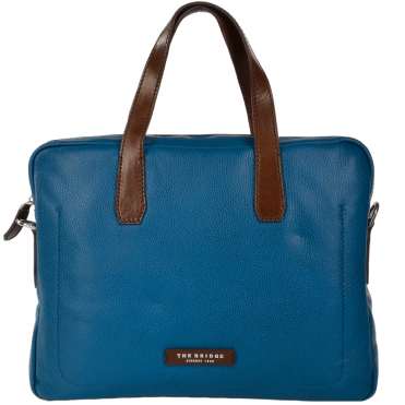 The Bridge Full Grain Italian Leather Laptop Bag Blue/brn/ruthenium - 064071 2F 6U NH