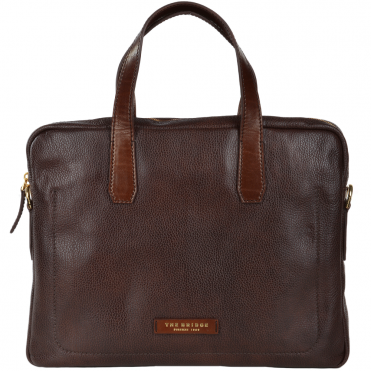 The Bridge Full Grain Italian Leather Laptop Bag Brown - 64071 2F 14 NH