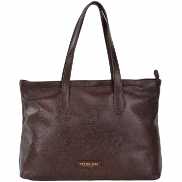 Full Grain Italian Leather Shopper Bag Brown - 44336 79 14 NH